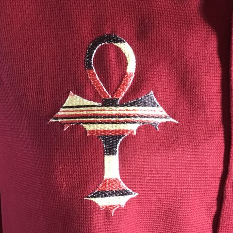 Black,Red,Tan,Embroidered,Ankh,on,Maroon,Button-front,Shirt,Black Red Tan Embroidered Ankh on Maroon Button-front Shirt