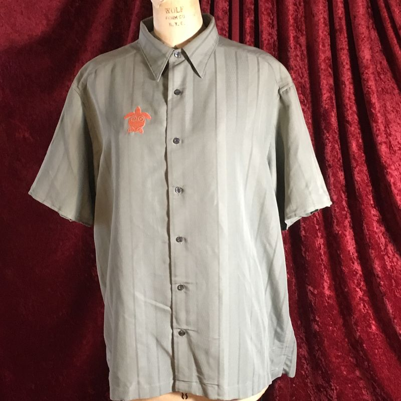 Orange and Olive Drab Turtle Emboridered on Olive Drab Button-front Shirt - product images  of
