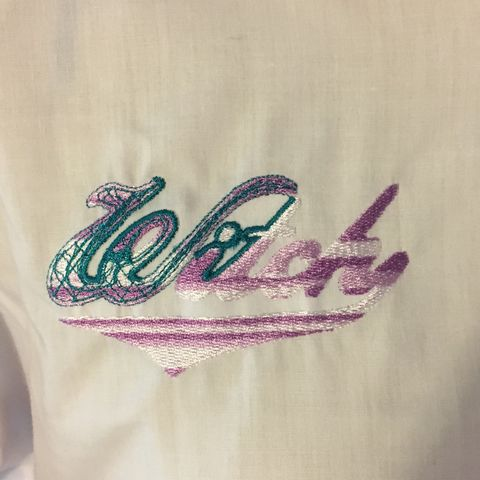 Purple,and,Green,Witch,Embroidered,on,White,Button-front,Shirt,Purple and Green Witch Embroidered on White Button-front Shirt