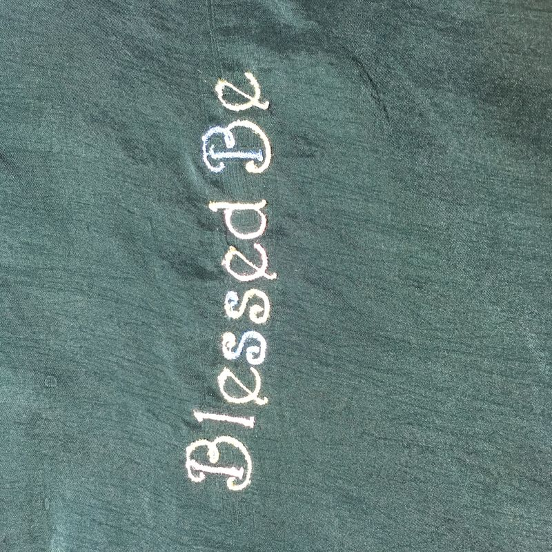 Pastel Blessed Be Embroidered on Forest Green Button-front Silk Shirt - product images  of