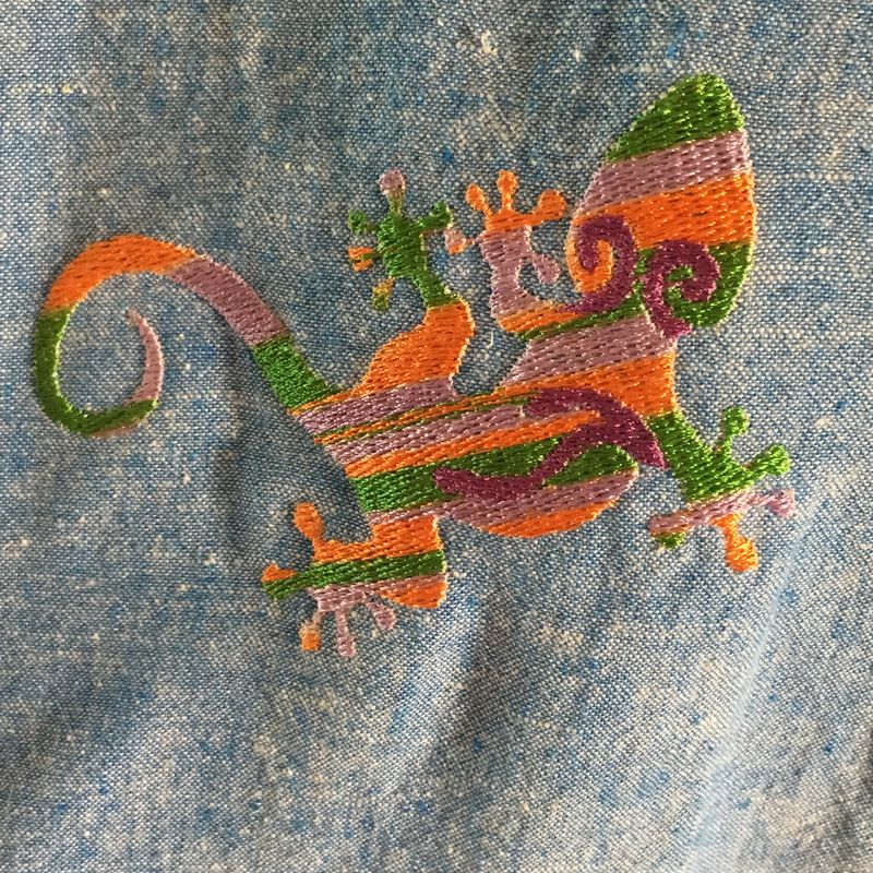 Orange Purple Green Gecko Embroidered on Denim Button-front Shirt - product images  of
