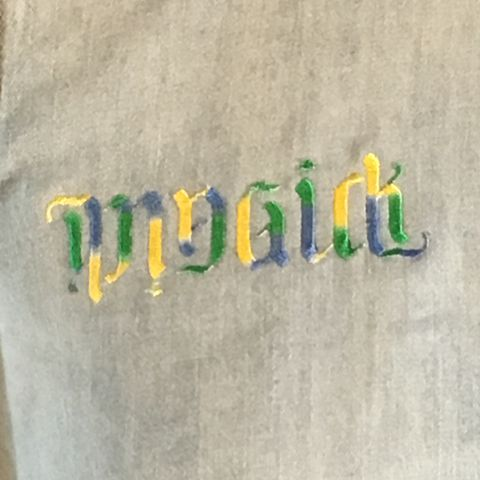 Ambigram,Magick,Yellow,Blue,Green,Embroidered,on,Fitted,Light,Denim,Button-front,Shirt,Ambigram Magick Yellow Blue Green Embroidered on Fitted Light Blue Denim Button-front Shirt
