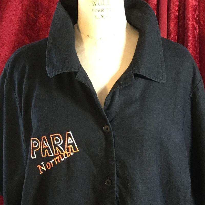 Orange Ombre Para Normal Embroidered on Black Button-front Shirt - product images  of