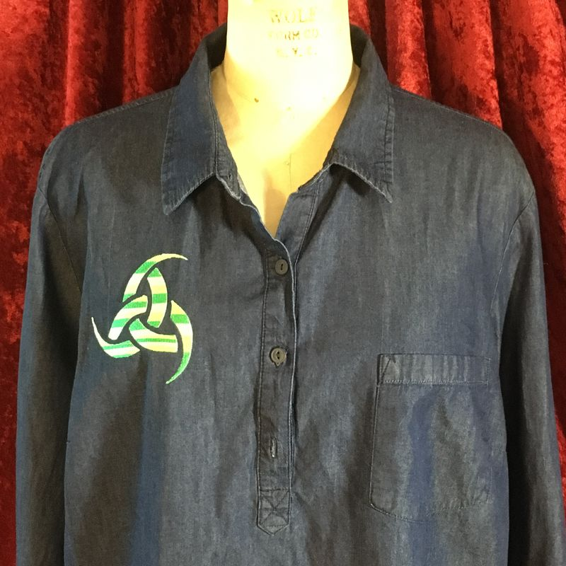 Green Embroidered Triskelion on Denim Tunic Pullover - product images  of