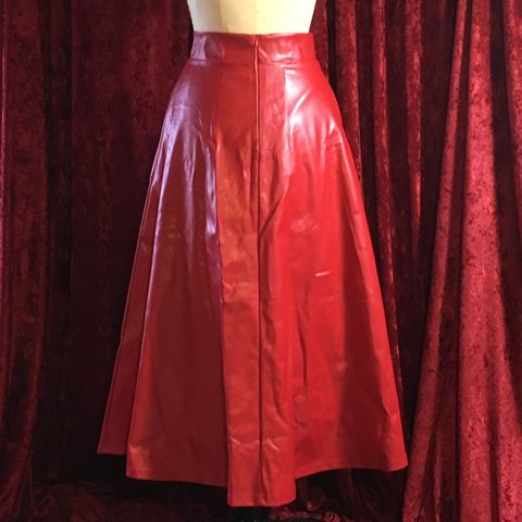 Red,Pleather,Long,Full,Skirt,-,Small,BNWT,Red Pleather Long Full Skirt - Small