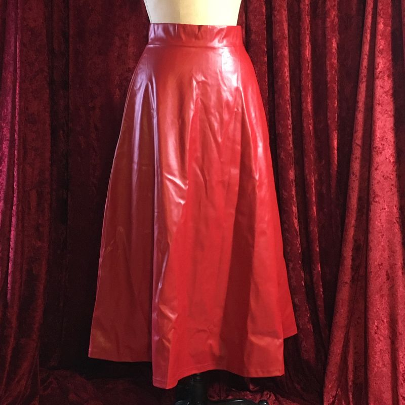 Red Pleather Long Full Skirt - Small BNWT - product images  of