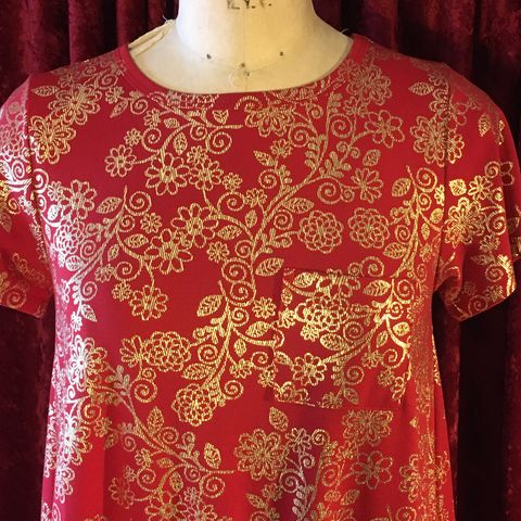 Red,and,Gold,Lula,Roe,Carly,Tunic,Dress,XS,Red and Gold Lula Roe Carly Tunic Dress XS