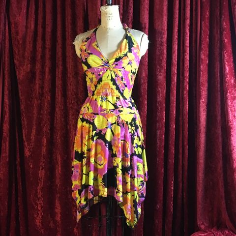 Orange,,Pink,and,Yellow,Patterned,Halter,Dress,Orange, Pink and Yellow Patterned Halter Dress
