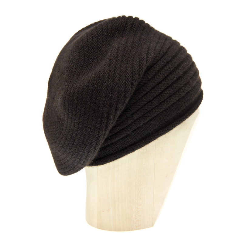 Horizontal Knit Beanie - MARRONE - Dark Brown - product images  of
