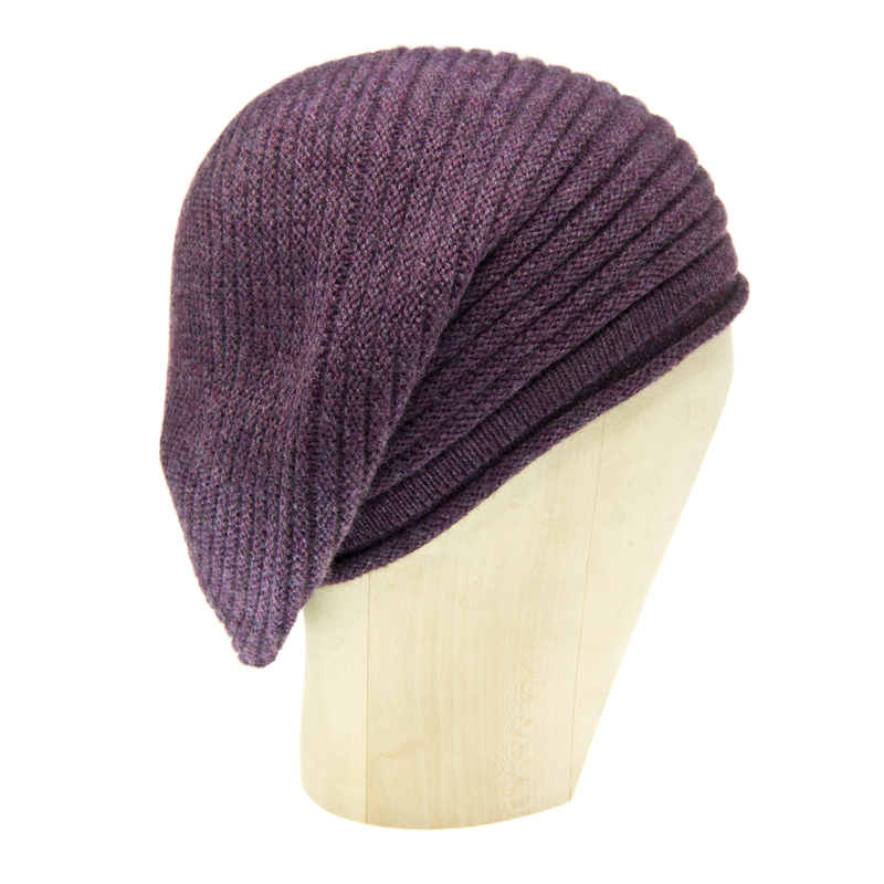 Horizontal Knit Beanie - HEATHERED MELANZANA - product images  of