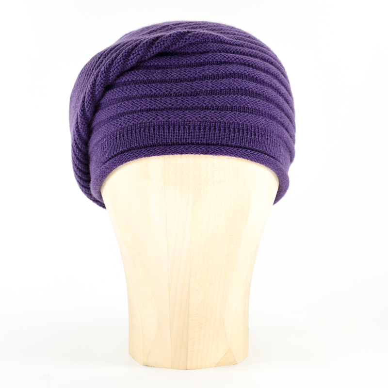 Horizontal Knit Beanie - PURPLE - product images
