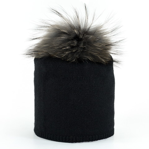 Star,Beanie,with,Fur,Pompon,-,Black