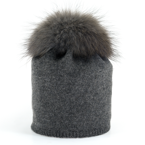 Star,Beanie,with,Fur,Pompon,-,Anthracite