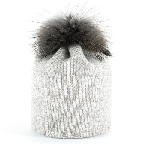 Star,Beanie,with,Fur,Pompon,-,Silver
