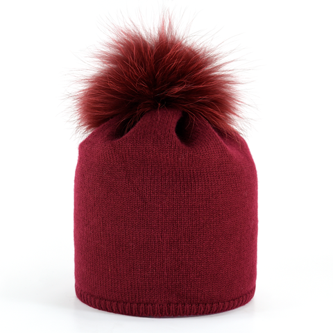 Star,Beanie,with,Fur,Pompon,-,Bordeaux