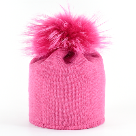 Star,Beanie,with,Fur,Pompon,-,Hot,Pink