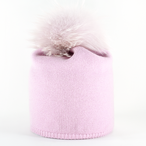 Star,Beanie,with,Fur,Pompon,-,Baby,Rosa