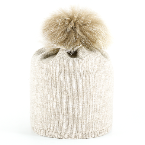 Star,Beanie,with,Fur,Pompon,-,Beige