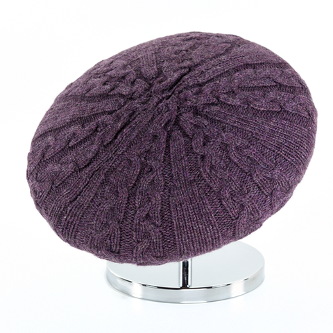 Cable,Beret,-,Heathered,Melanzana,Cable Beret Cashmere Heathered Melanzana Gestrickt Baret