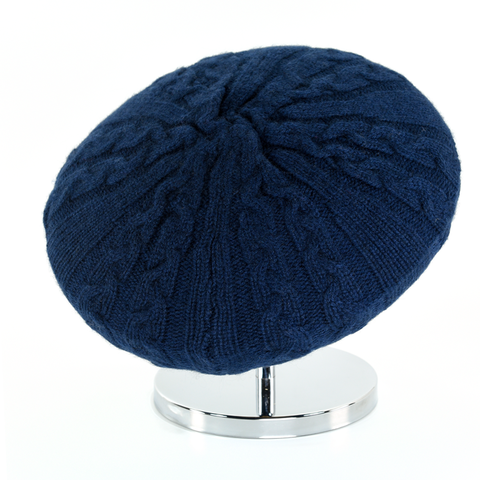 Cable,Beret,-,Midnight,Blue,Cable Beret Cashmere Midnight Blue Gestrickt Baret