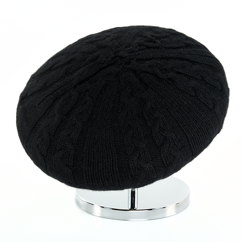 Cable Beret - Black - product images