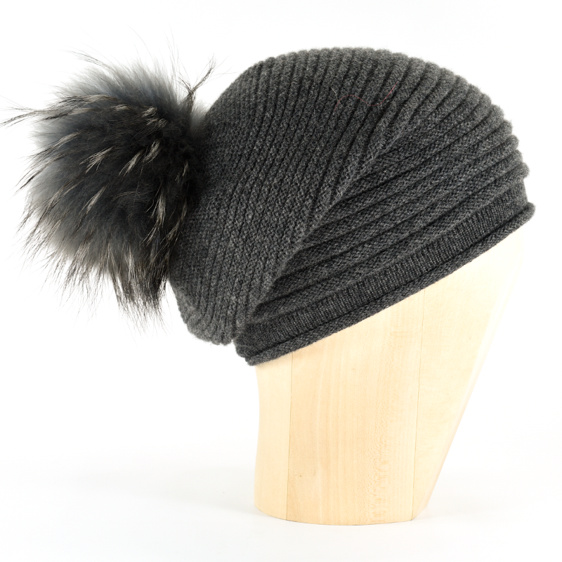 Horizontal Knit Pompon Beanie- ANTHRACITE - product images