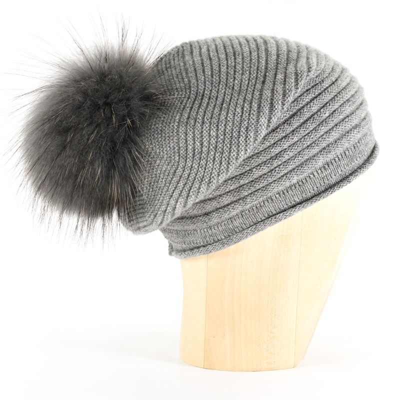 Horizontal Knit Pompon Beanie- STEEL GREY - product images