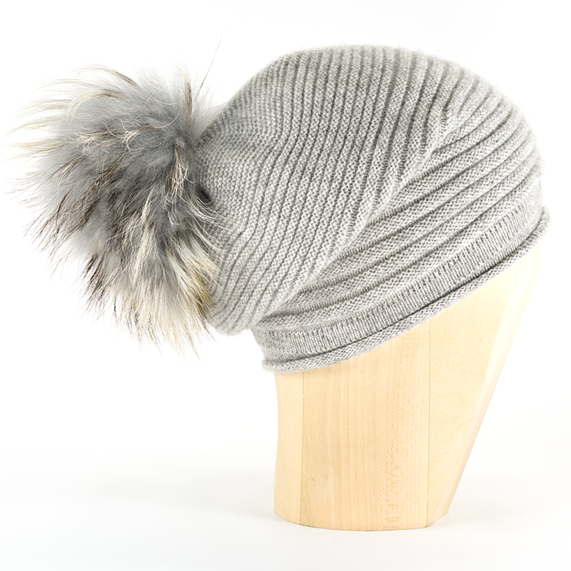 Horizontal Knit Pompon Beanie- Silver - product image