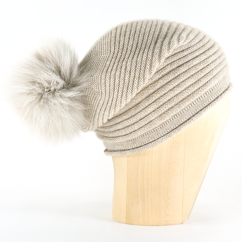 df9efd67d1b203 Horizontal,Knit,Pompon,Beanie-,Beige,Horizontal Knit Beanie Cashmere  Kaschmir