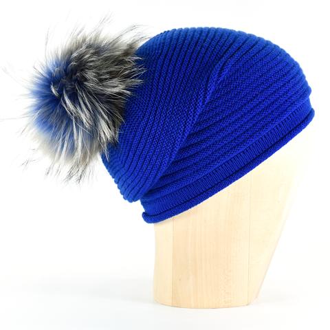 809ae2e09acdce Horizontal,Knit,Pompon,Beanie-,Blitz,Blue,Horizontal Knit Beanie