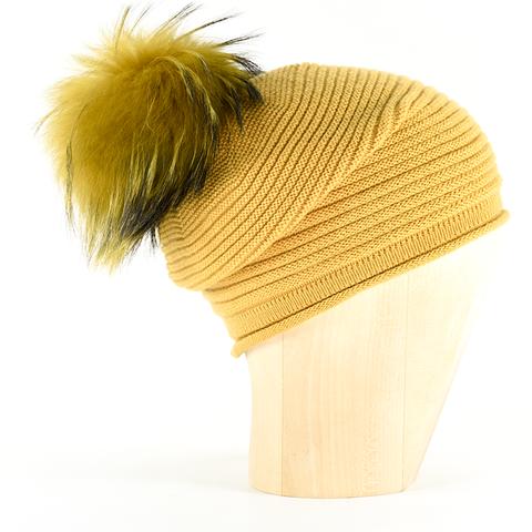 f52c3e8b19ca87 Horizontal,Knit,Pompon,Beanie-,Saffron,Horizontal Knit Beanie Cashmere  Kaschmir