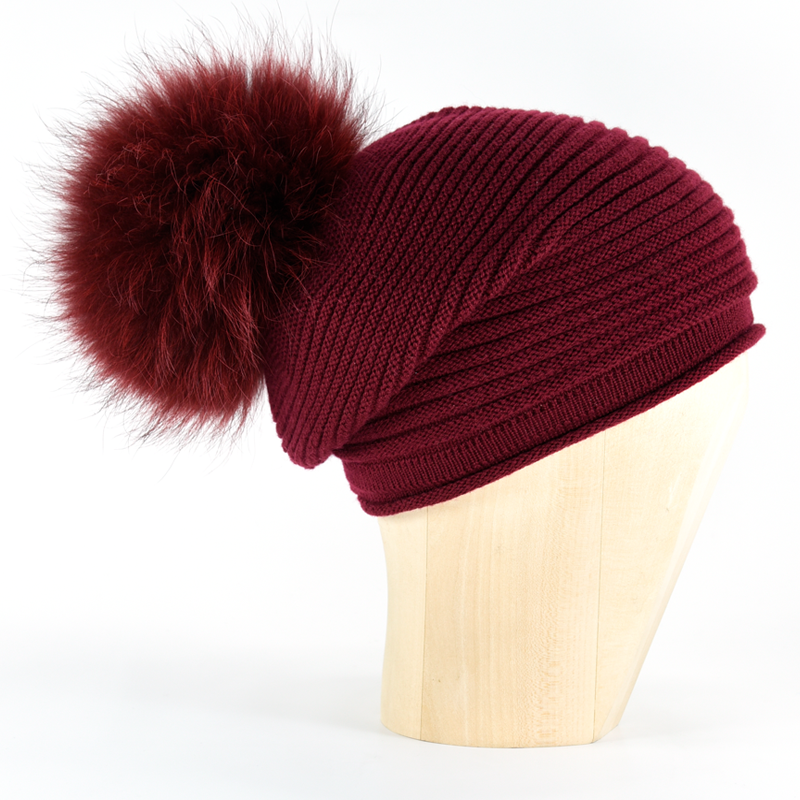 Horizontal Knit Pompon Beanie- Bordeaux - product image
