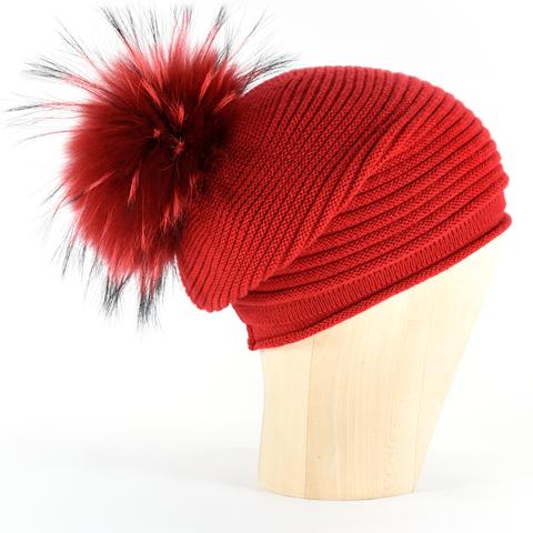 94a603bed42c70 Horizontal,Knit,Pompon,Beanie-,Papavero,Horizontal Knit Beanie Cashmere  Kaschmir