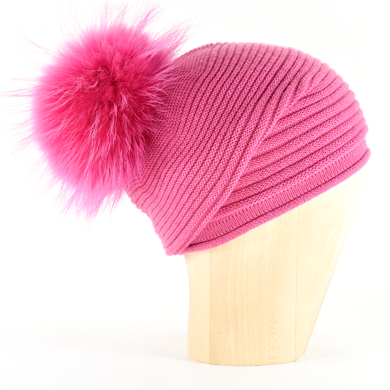Horizontal Knit Pompon Beanie- Hot Pink - product image