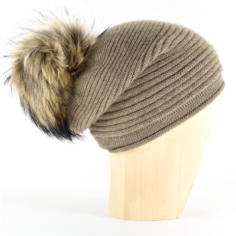 Horizontal,Knit,Pompon,Beanie-,Light,Brown,Horizontal Knit Beanie Cashmere Kaschmir Light Brown Gestrickt Haube Mütze