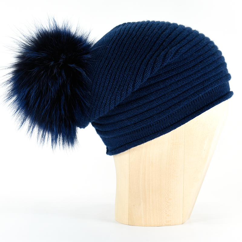 Horizontal Knit Pompon Beanie- Midnight Blue - product image