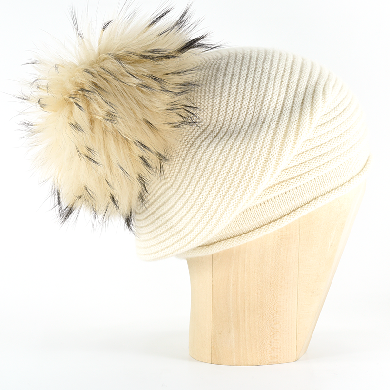 Horizontal Knit Pompon Beanie- Panna - product image