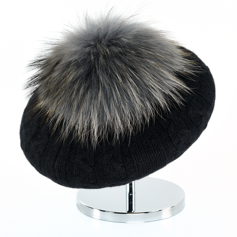 Cable Beret with Fur Puff - Black - product image