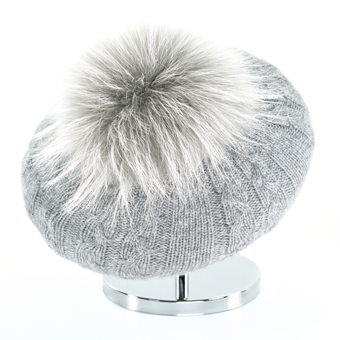 Cable,Beret,with,Fur,Puff,-,Steel,Grey,Cable Beret with Fur Puff - Steel Grey