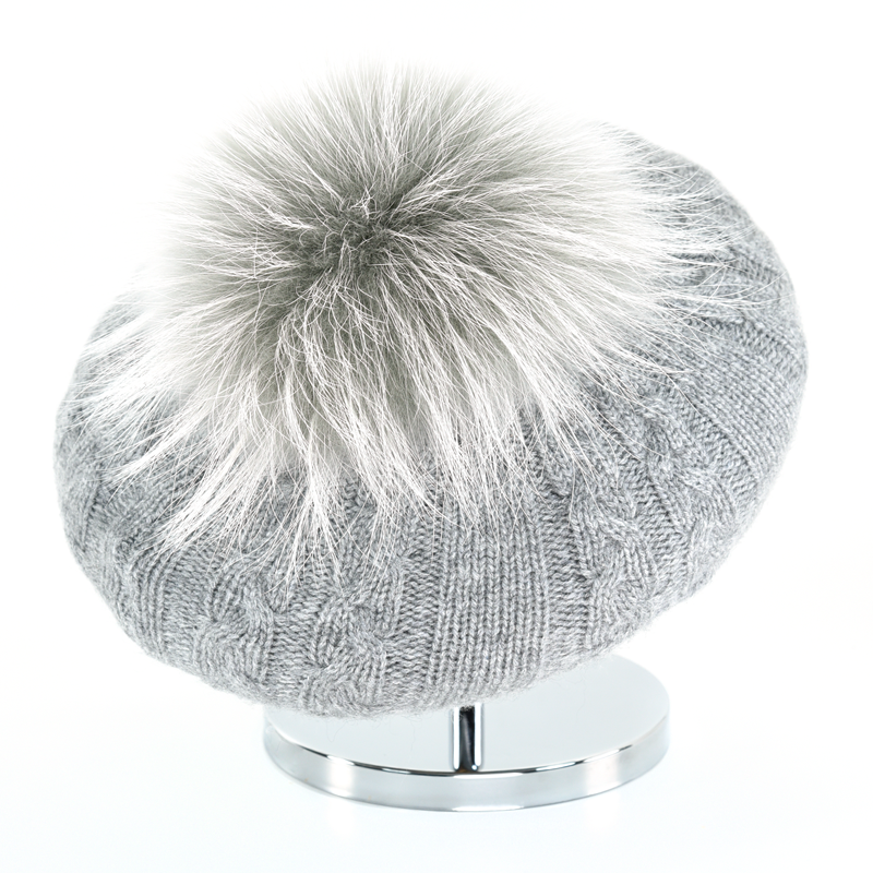 Cable Beret with Fur Puff - Steel Grey - product image