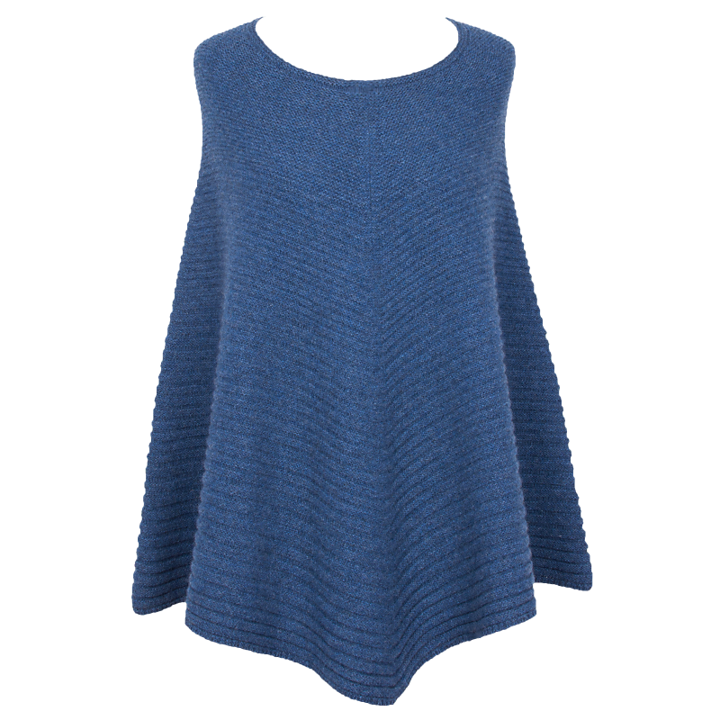 Horizontal Knit Poncho - Heathered Blue - product image