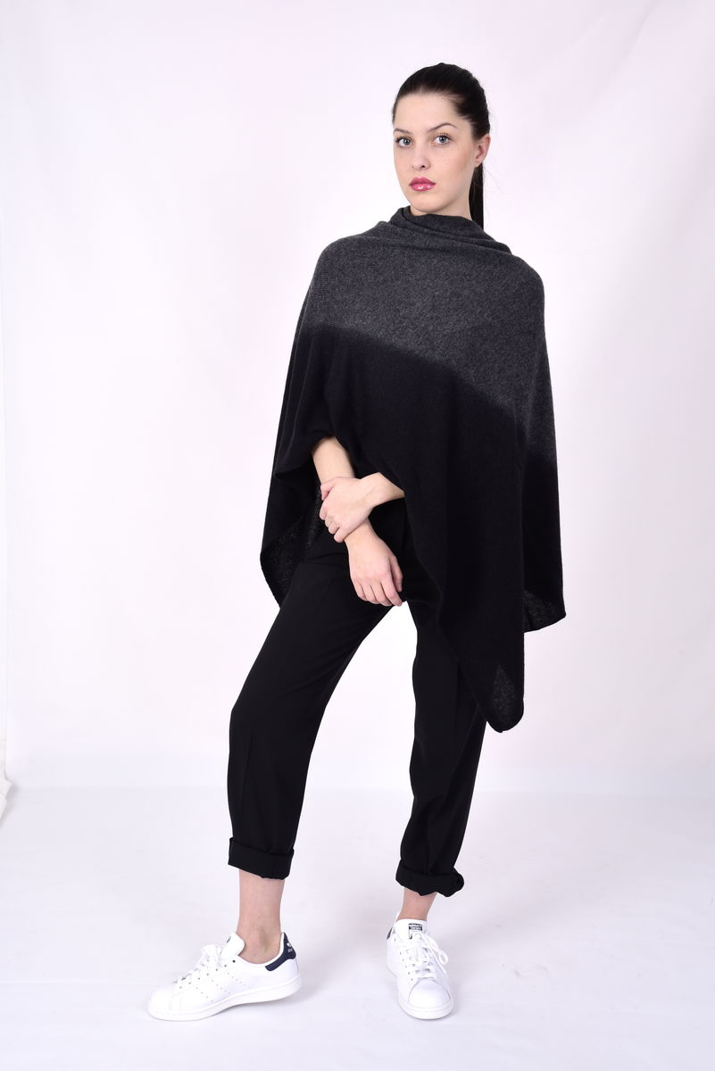 Dip Dyed Poncho Grey Black - product images  of