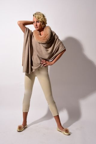Fox,Trimmed,Luxe,Poncho,with,Contrast,Stripe