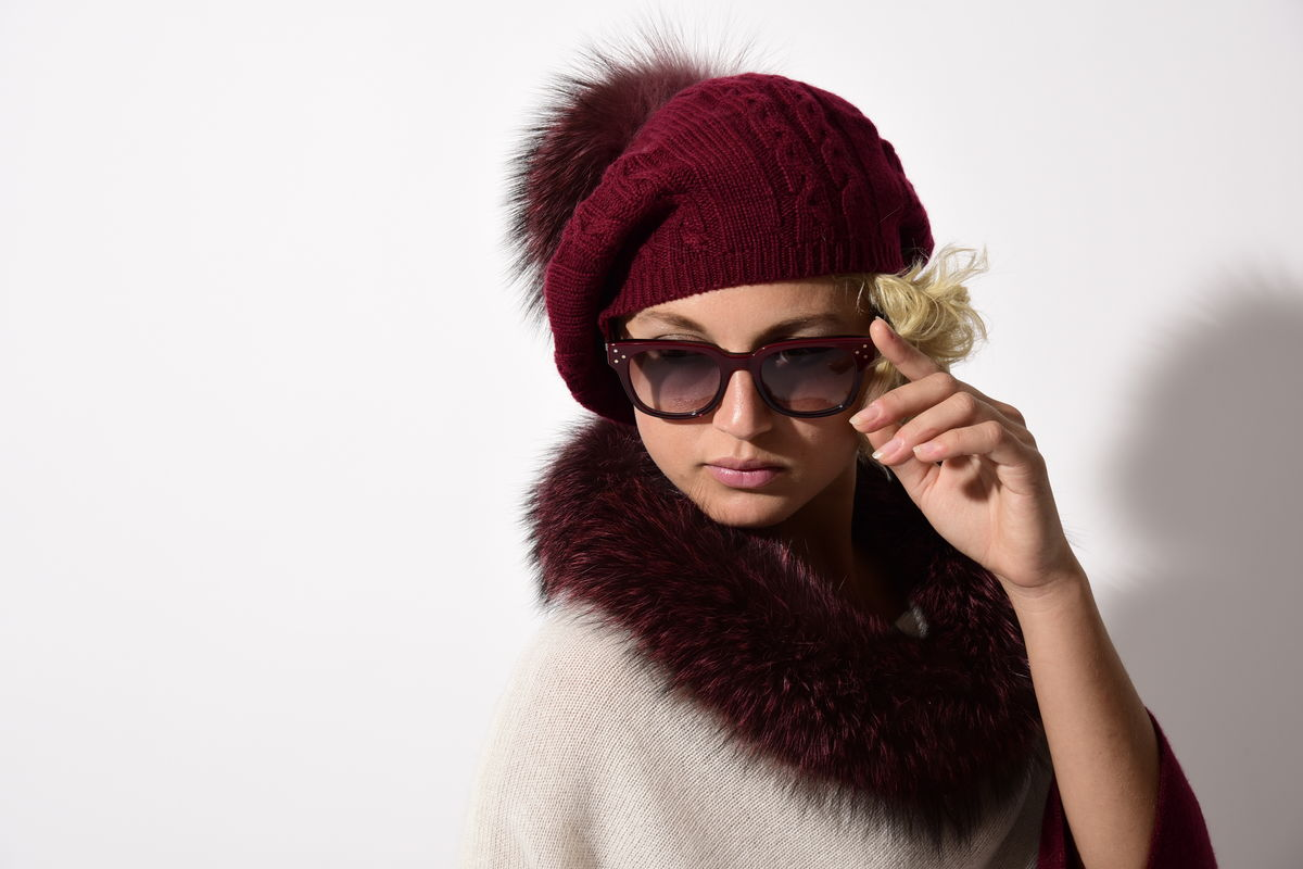 Fox Fur Trimmed Dip Dyed Poncho Cream Bordeaux - product images  of