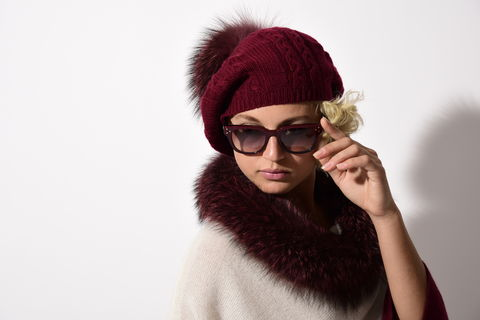 Cable,Beret,with,Fur,Puff,-,Bordeaux,Cable Beret with Fur Puff - Anthracite
