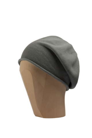 Kopka,Cotton,Roll-Up,Beret,-,Pewter,Cotton Baumwolle Beanie Kopka Jennigraf Kopka Cotton Beret Pewter Beret Basque Chemo Hat Indoor Summer