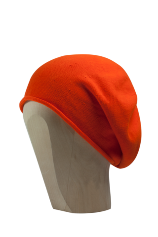 Kopka,Cotton,Roll-Up,Beret,-,Hot,Orange,Cotton Beanie Kopka Jennigraf Kopka Cotton Beret Hot Orange Beret Basque Chemo Hat Indoor Summer