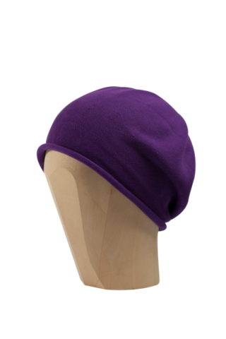 Kopka,Cotton,Roll-Up,Beret,-,Purple,Cotton Beanie Kopka Jennigraf Kopka Cotton Beret Purple Beret Basque Chemo Hat Indoor Summer