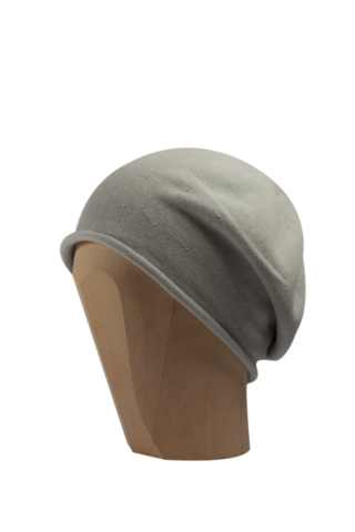 Kopka,Cotton,Roll-Up,Beret,-,Silver,Cotton Beanie Kopka Jennigraf Kopka Cotton Bere Silver Beret Basque Chemo Hat Indoor Summer