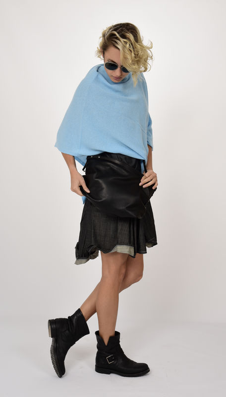 Poncho 100% Cashmere - Bahama Blue - product images  of